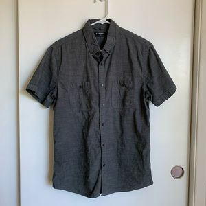 Express Men's Short Sleeve Gray Button Down M